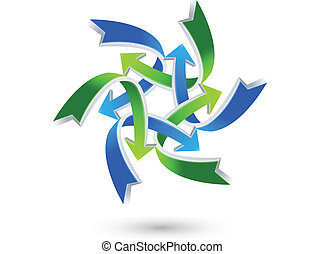 conexões, logotipo, setas, negócio