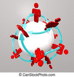 conexões, pessoas, -, rede, social