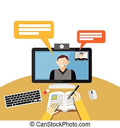 conferência, concept., ou, vídeo, tutorial, chamada, computer., binar, teia