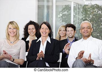 conferência, equipe, aplaudindo, negócio, após