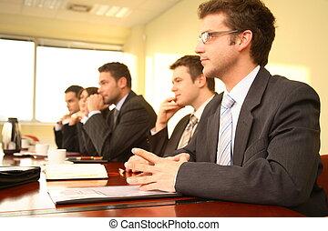 conferência, pessoas, cinco, negócio