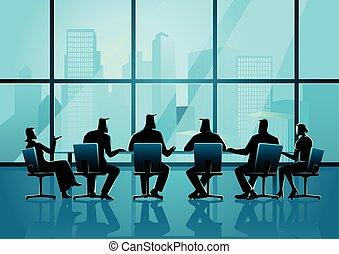 conferência, pessoas negócio, sala, executivo, tendo, reunião