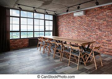 conferência, room., interior, modernos, desenho