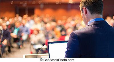 conference., orador, público, negócio