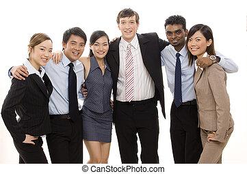 confiante, 4, equipe negócio