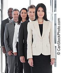 confiante, femininas, negócio, líder