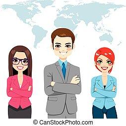 confiante, global, businesspeople, equipe