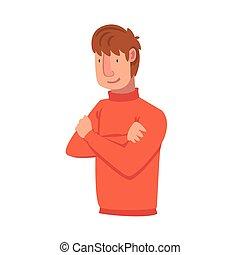 confiante, personagem, dobrado, macho, emoções, vetorial, ilustração, facial, mãos, homem jovem