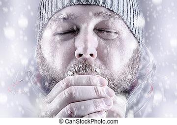 congelação, neve, cima, tempestade, fim, branca, homem, saída