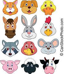 conjunto cabeça, caricatura, animal