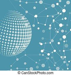 connect., halftone, molécula, vetorial, círculo