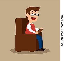conselheiro, psicologia, escritório, sentando