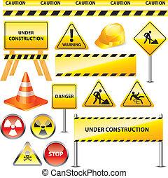 construção, aviso assina