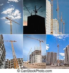 construção, collage., arranha-céu, crane., içar