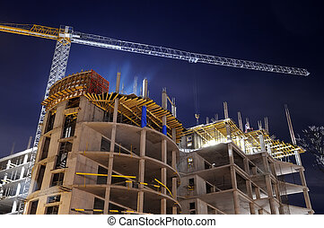 construção edifício, local, noturna