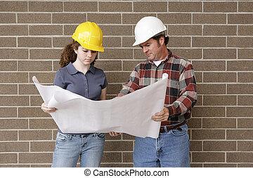 construção, equipe, desenhos técnicos