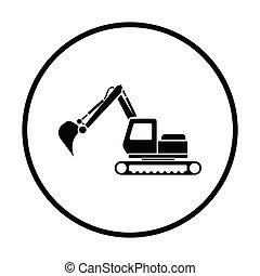 construção, escavador, ícone
