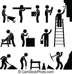 construção, funcionamento duro, trabalho