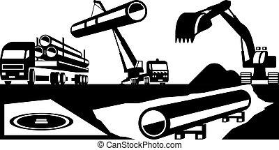 construção, oleodutos