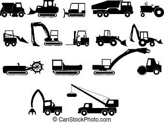 construção, pesado, máquinas
