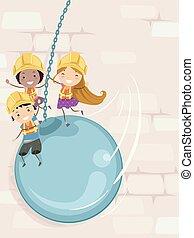 construção, stickman, crianças, bola, destruir, ilustração