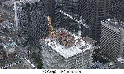 construção, tiro, cranes., timelapse