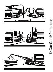 construção, transporte