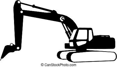 construção, (vector), veículos
