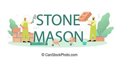 construir, pedreiro, construtor, pedra, profissional, header., tipográfico