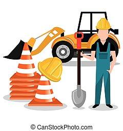 construtor, construtor, trabalhador, ícone