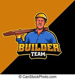 construtor, equipe, modelo, mascote, logotipo