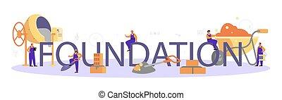 construtor, header., tipográfico, preparar, profissional, trabalhador, fundação