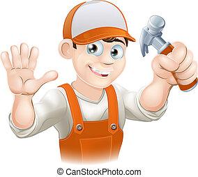 construtor, martelo, carpinteiro, ou
