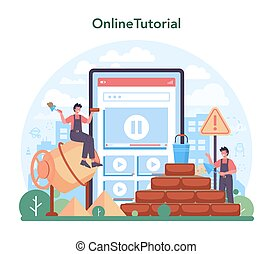 construtor, profissional, serviço, platform., ou, online, pedreiro, construir