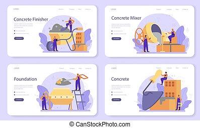construtor, set., finisher, página, aterragem, ou, bandeira, profissional, concreto, teia