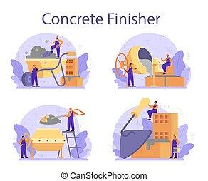 construtor, set., finisher, preparar, profissional, concreto, trabalhador