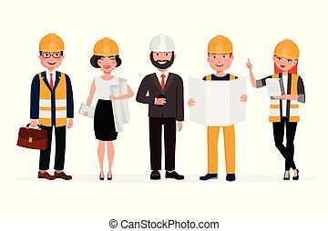 construtores, illustration., mecanica, experiência., pessoas, vetorial, isolado, caricatura, branca, engenheiros, trabalho grupo, apartamento, caráteres, técnicos