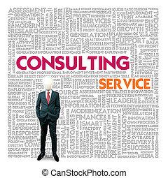 consultar, palavra, finanças, serviço, conceito, negócio, nuvem