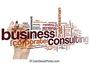 consultar, palavra, negócio, nuvem