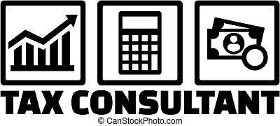 consultor, imposto, ícones