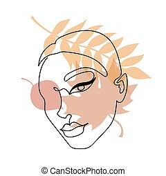 contínuo, rosto, pretas, linha, coloridos, outono, leaves., mulher