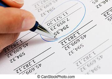 contabilista, números, trabalhando
