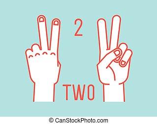contar, índice, cima., gesture., número, stylized, dedo médio, vector., mãos, fingers., two.