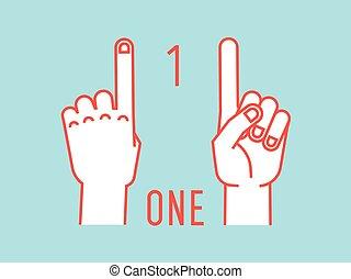 contar, índice, cima., número, one., gesture., stylized, vector., mãos, fingers.