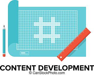 conteúdo, desenvolvimento, ilustração, apartamento