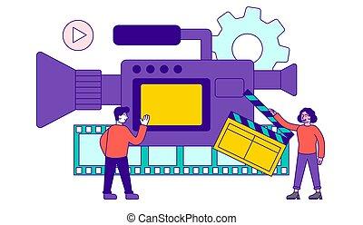 conteúdo, high-quality, concept., producao, vídeo