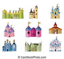 conto fada, ícone, caricatura, castelo