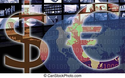 contra, negócio, dólar, currency., incorporado, euro