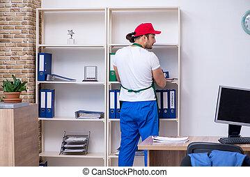 contratante, jovem, escritório, limpeza, macho