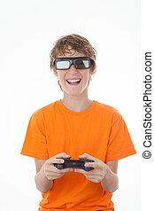 controle, jogo, 3d, tocando, criança